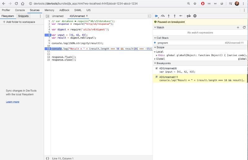 Debug GraalJS in Chrome DevTools